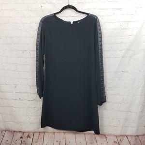 Boundary silk leather studded trim dress